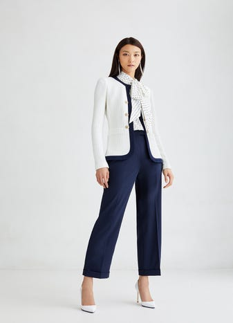 Chain Stitch Texture Jacket by St. John, available on stjohnknits.com Gigi Hadid Outerwear SIMILAR PRODUCT