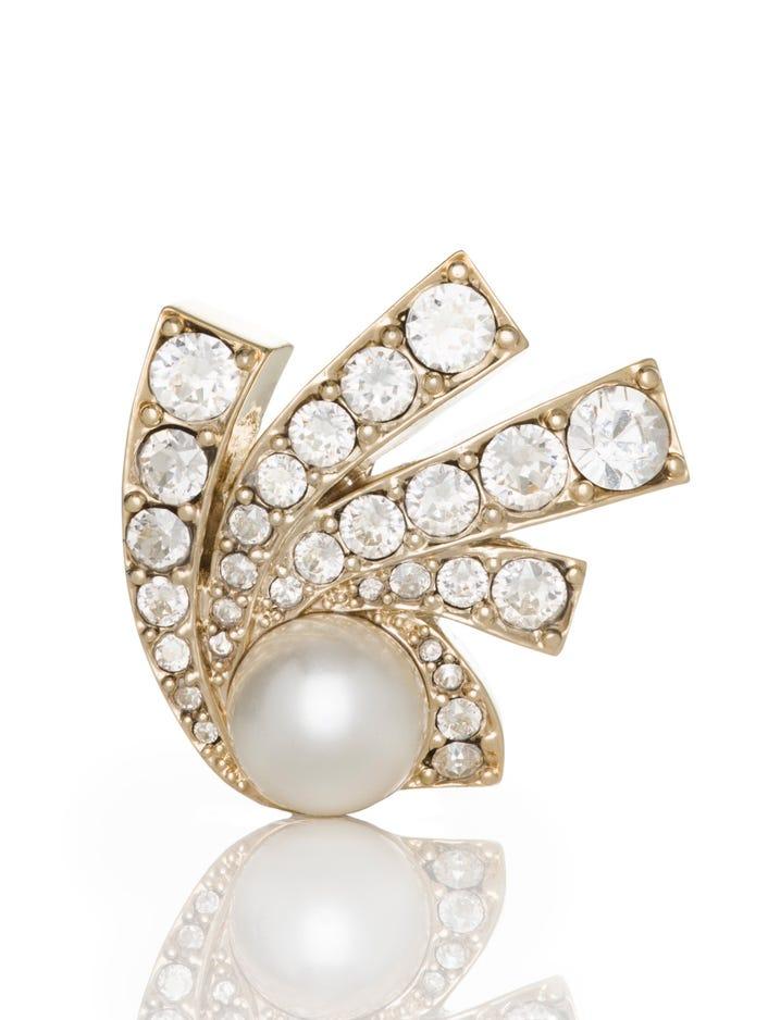 Women's Signature Pearl Brooch With Swarovski Crystals | St  John Knits
