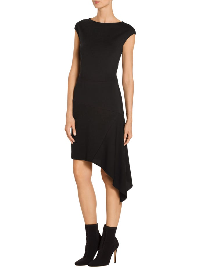 2d7be5c3776a Skip to the end of the images gallery. Asymmetrical Milano Knit Cap Sleeve  Dress
