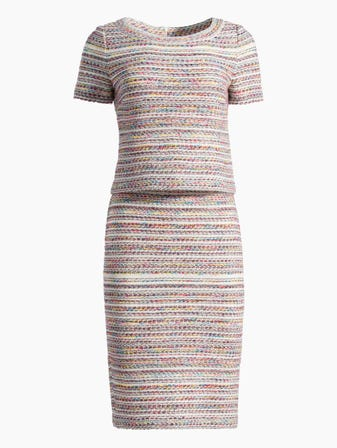 Flag Tweed Knit Short Sleeve Dress