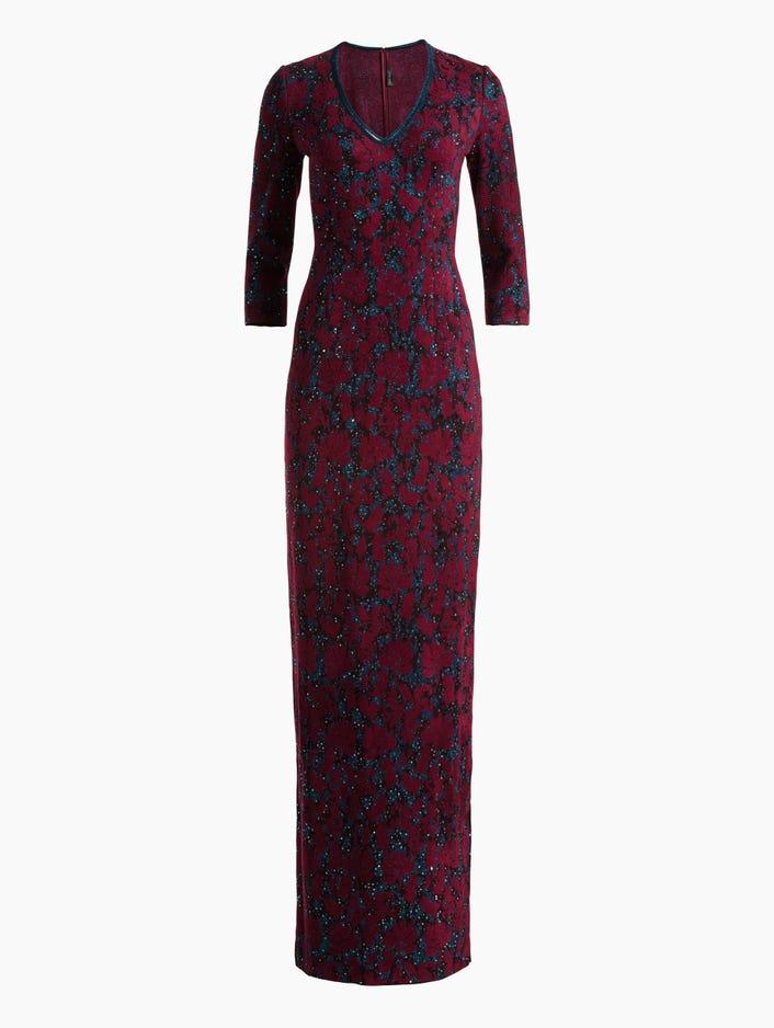 72270d8ff4c3 Women s Sparkle Velvet Jacquard Knit Gown