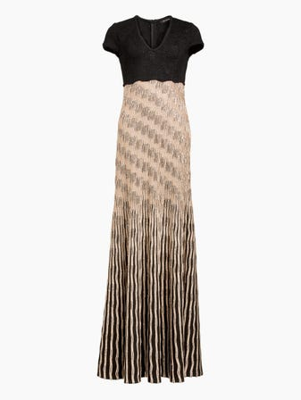 Inlay Sequin Trellis Knit V Neck Fit Flare Gown