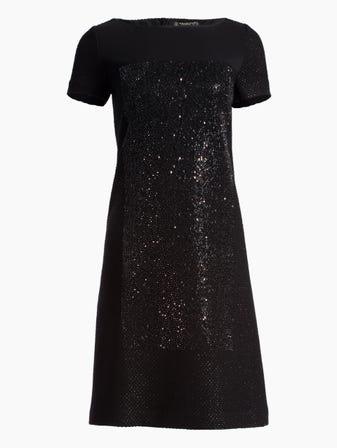 Shimmer Basket Knit Short Sleeve Dress