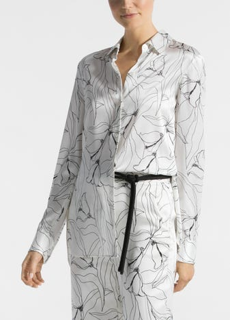 65f43975169eb Hand Drawn Artisanal Floral Print Silk Blouse
