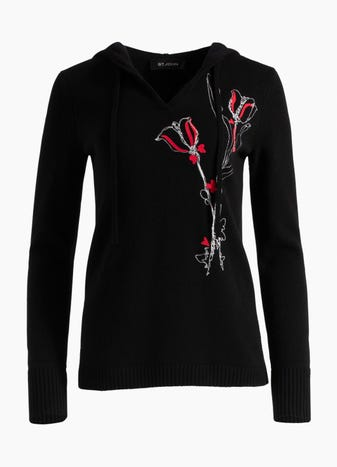 e05b479073 Floral Motif Flocked Embroidered Cashmere Knit Pullover
