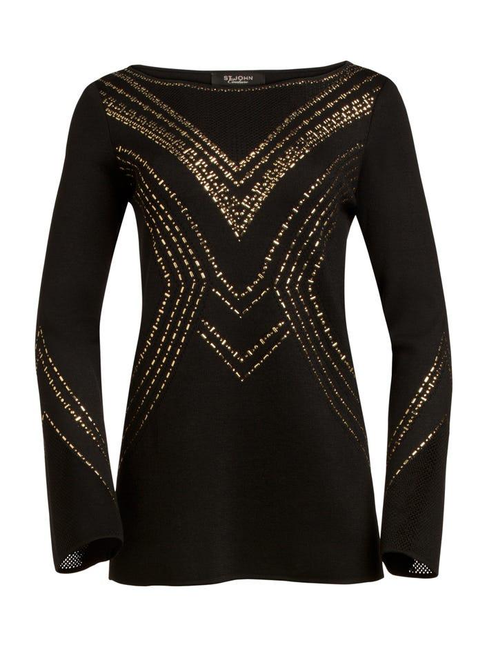 b9ec0e9d90c19 Women s Geometric Pointelle Jacquard Knit Sweater