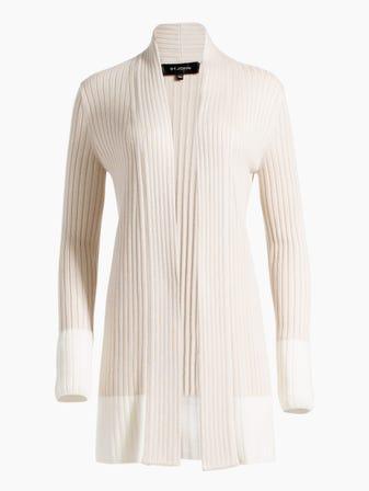 b25fd0338c Two-Tone Rib Knit Shawl Collar Cardigan