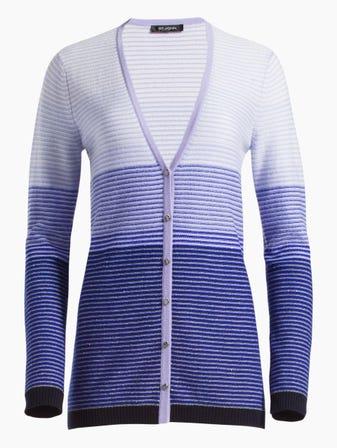 Graduated Tonal Stripe Knit V-Neck Cashmere Cardigan 170a472d9