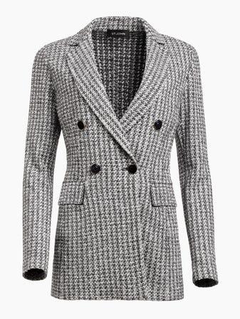 2e7221e44d44f Contrast Geometric Knit Double Breasted Jacket