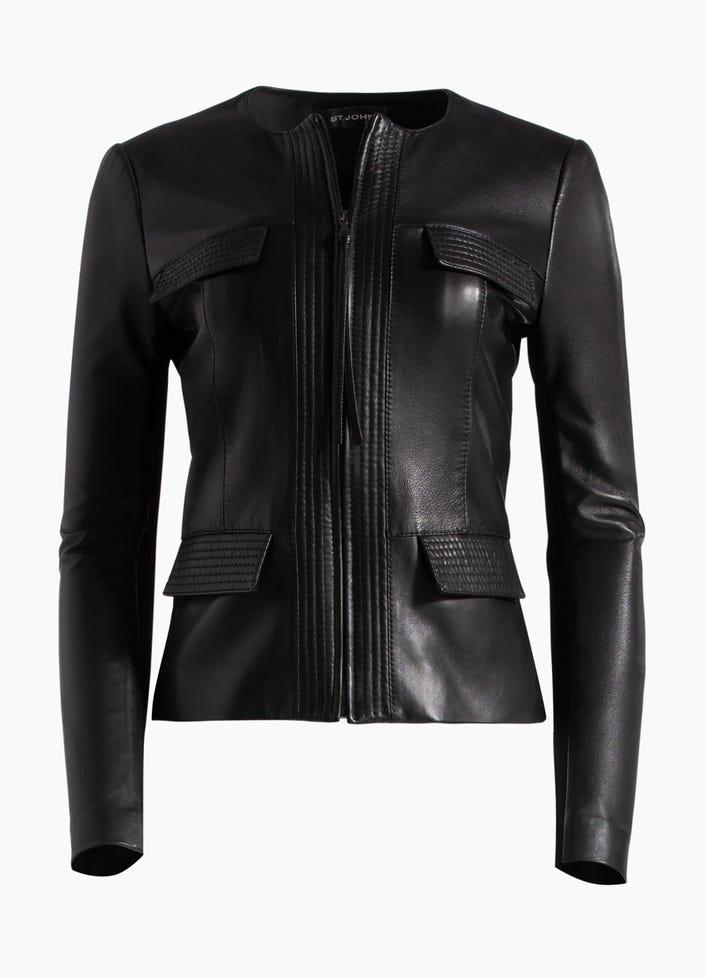 93f3503216d Women's Luxe Nappa Leather Jacket | St. John Knits