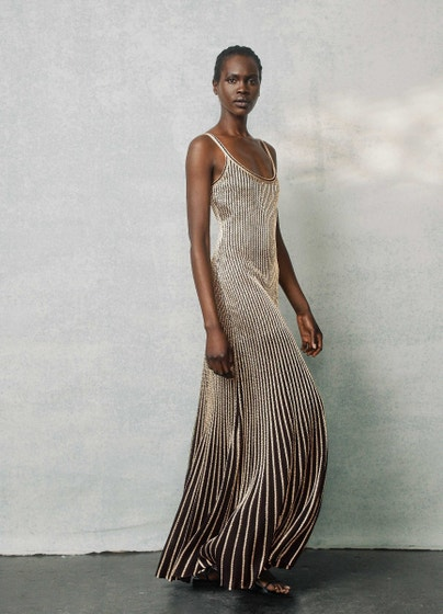 Gold Cable Stripe Knit Gown   St. John Knits