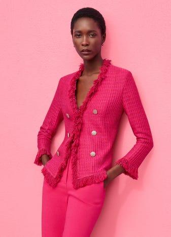 Novelty Textured Knit Jacket by St. John, available on stjohnknits.com Gigi Hadid Outerwear SIMILAR PRODUCT