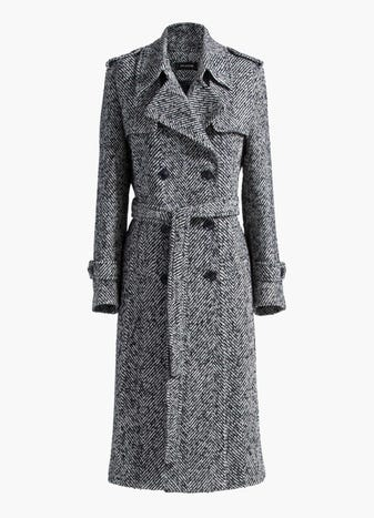 Double Breasted Herringbone Trench Coat by St. John, available on stjohnknits.com for $846 Gigi Hadid Outerwear SIMILAR PRODUCT