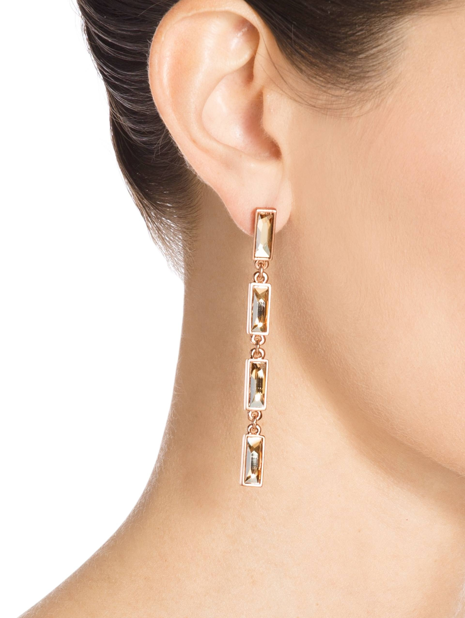 St. John Swarovski Crystal Drop Earring Flash rose gold shadow hkvIv0uA