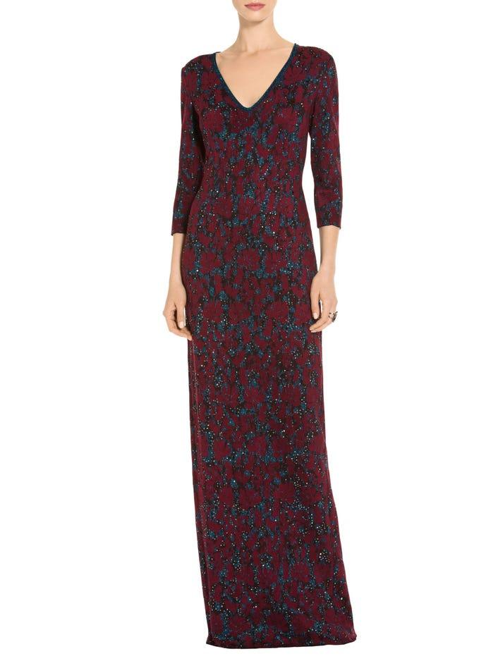 Women\'s Sparkle Velvet Jacquard Knit Gown   St. John Knits
