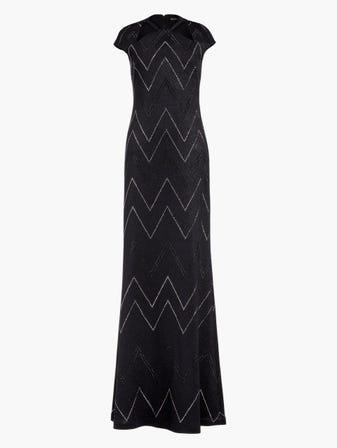 Metallic Knit Halter Neck Gown