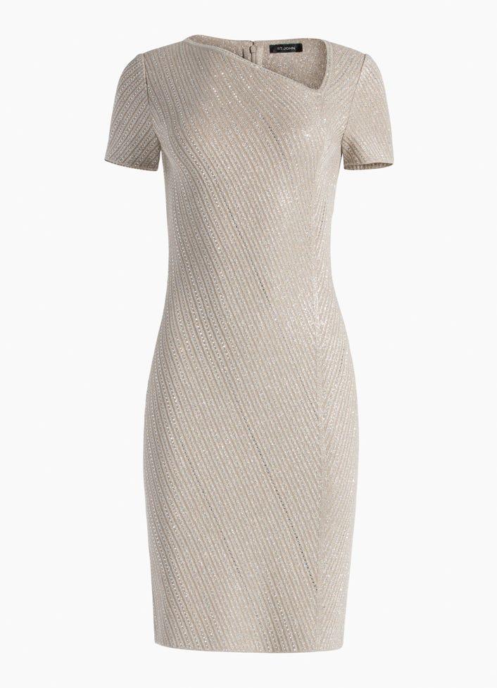 a4aec6f122a6 Brielle Knit Asymmetrical Neck SS Dress W Knit Trim Sequins