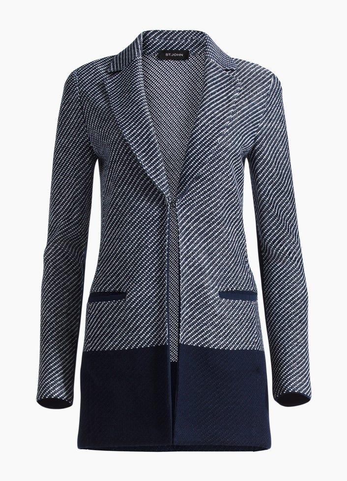 Women S Modern Textured Intarsia Knit Jacket St John Knits