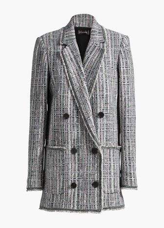 Fringe Double Breasted Jacket by St. John, available on stjohnknits.com for $846 Gigi Hadid Outerwear SIMILAR PRODUCT