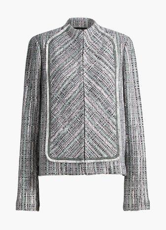 Fringe Funnel Neck Jacket by St. John, available on stjohnknits.com for $719 Gigi Hadid Outerwear SIMILAR PRODUCT