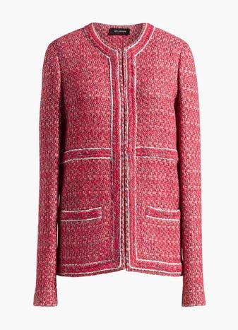 Artisanal Basketweave Drop Shoulder Jacket by St. John, available on stjohnknits.com for $719 Gigi Hadid Outerwear SIMILAR PRODUCT