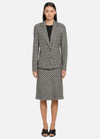 Textured Boucle Houndstooth Jacket and Skirt by St. John, available on stjohnknits.com Gigi Hadid Outerwear SIMILAR PRODUCT