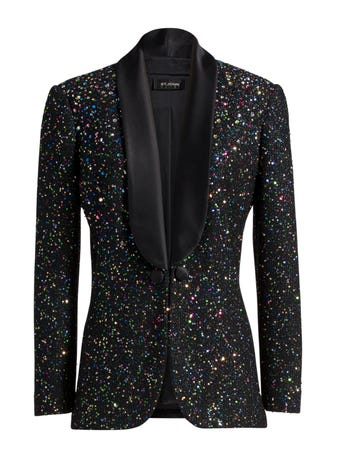 Confetti Sequin Shawl Collar Jacket by St. John, available on stjohnknits.com for $1100 Gigi Hadid Outerwear SIMILAR PRODUCT