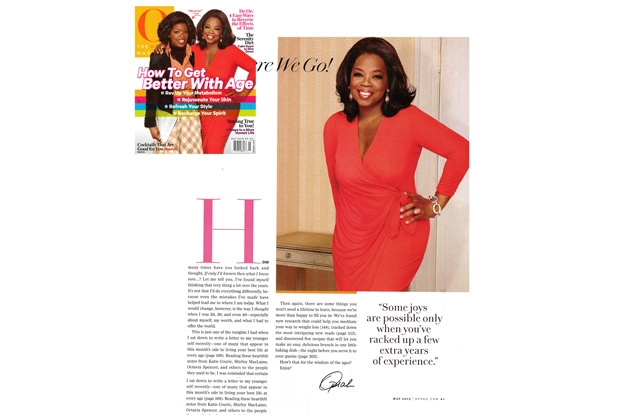 Oprah Wearing Saint John in the May 2012 Cover of O Magazine