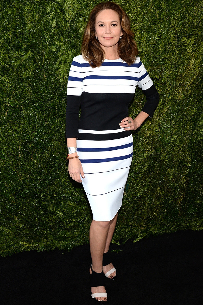 Diane Lane wearing the Saint John Luxe Sculpture Knit Dress