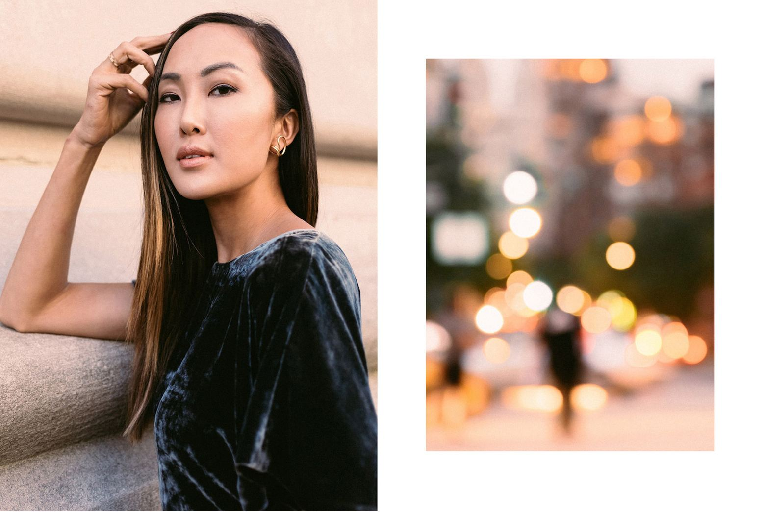 Chriselle Lim dressed in a velvet top
