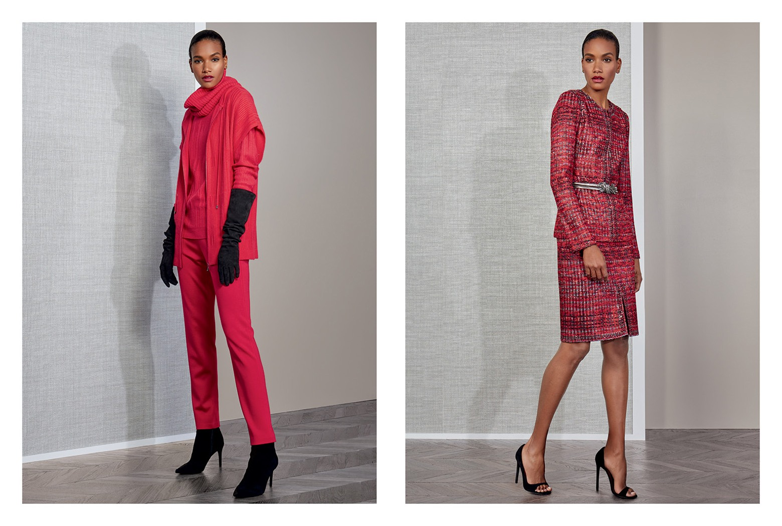 Saint John Fall 2018 lingonberry cashmere jacket and knit jacket and skirt set