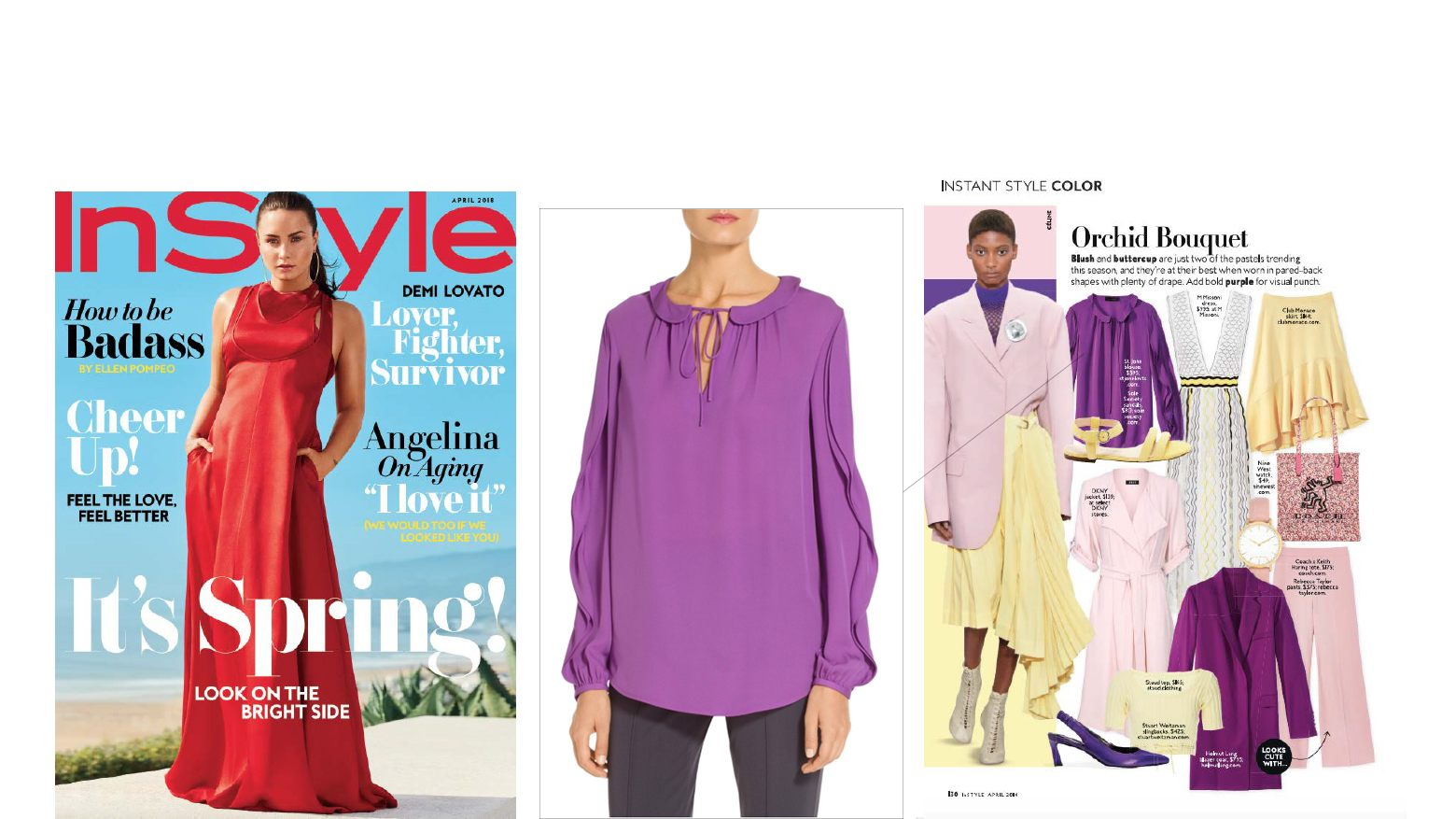 Saint John Stretch Silk Blouse in Orchid featured in the April 2018 issue of Instyle