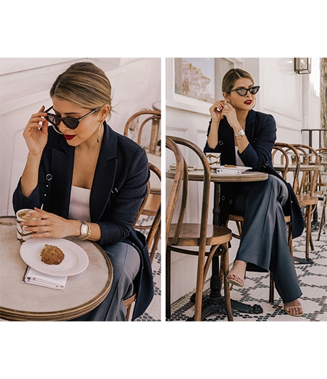 Pam Hetlinger Styled in Saint John sitting at a cafe