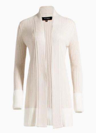 Two-Tone Rib Knit Shawl Collar Cardigan