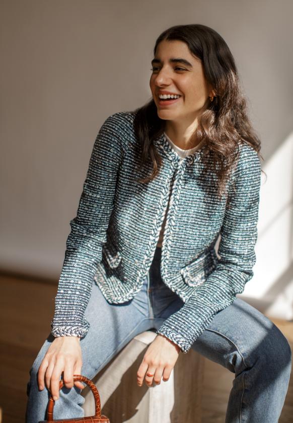 Christina Holevas wearing Saint John Camille Knit Jacket