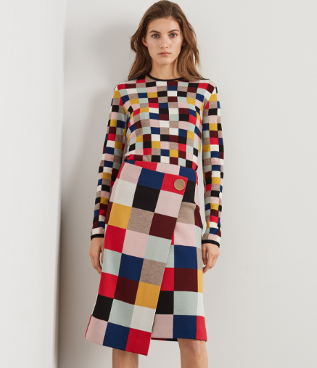 Color Blocked Wool Intarsia Sweater