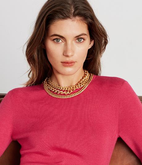 Refined Cashmere Silk Rib Sweater