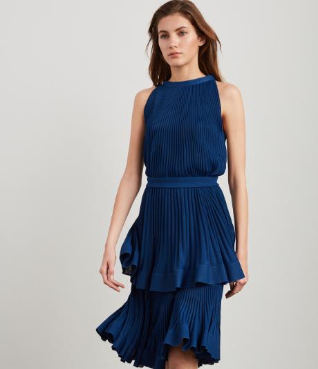 Ruffle Knit Halter Neck Dress