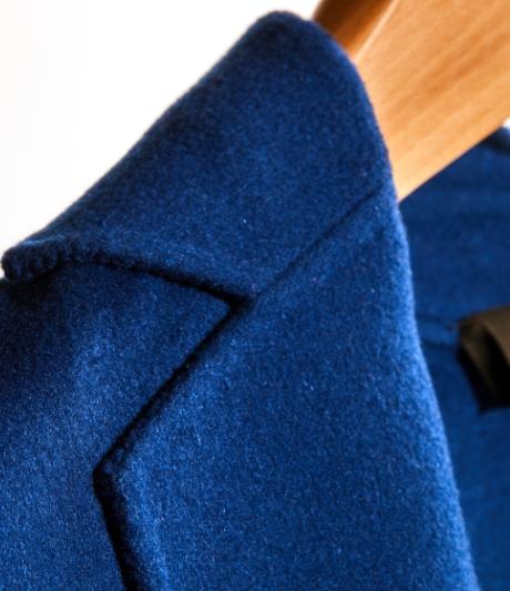prussian blue wool coat