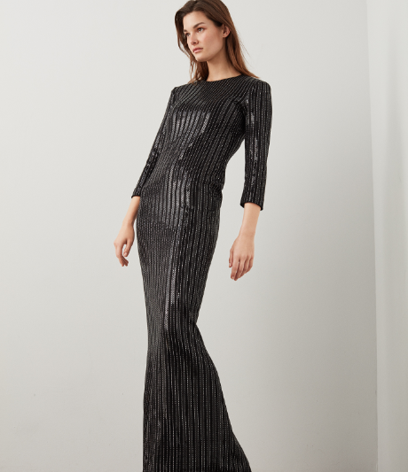 Evening Metallic Pinstripe Knit Gown