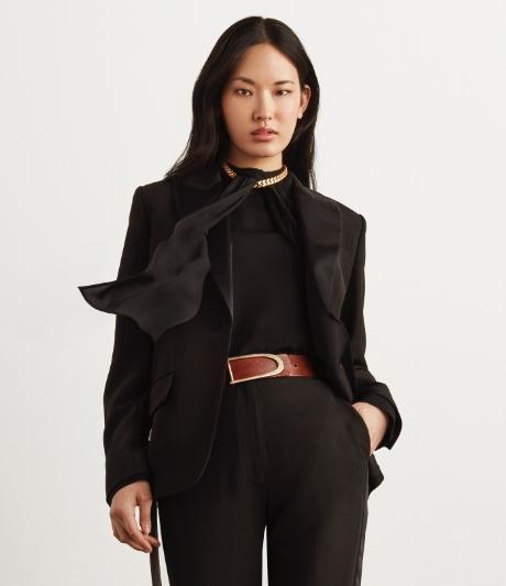 drape silk blouse and blazer
