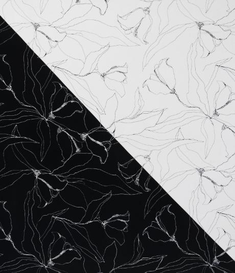 Hand Drawn Artisanal Floral Silk Scarf