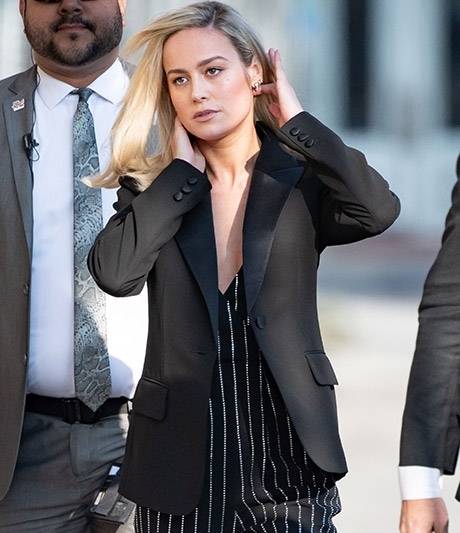 Brie Larson wearing Saint John at Jimmy Kimmel Live