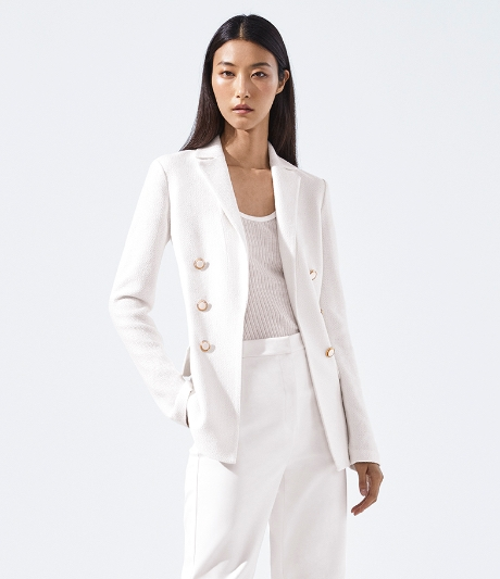 white gail knit blazer suit
