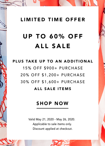 up to 60% off all sale plus an additional 30% off* Shop Now.