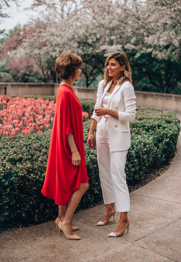 Becky Hillyard and Mother wearing Saint John Spring 2019