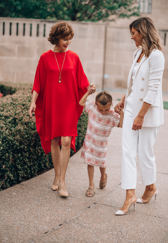 Becky Hillyard wearing the Gail Knit Blazer in the park with her mom and daughter