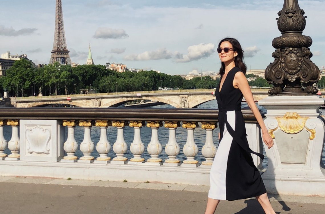 Charissa Fay in Paris wearing Saint John