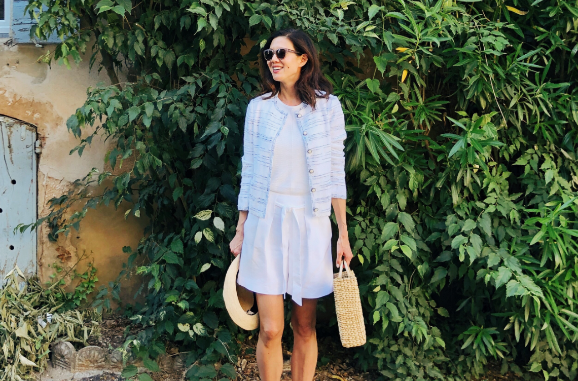 Charissa Fay in the Pacific Space Dye Jacket and Linen Shorts