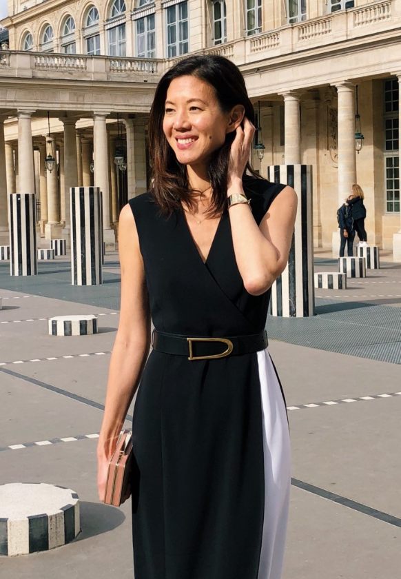 Charissa Fay in Belted Faux Wrap Dress